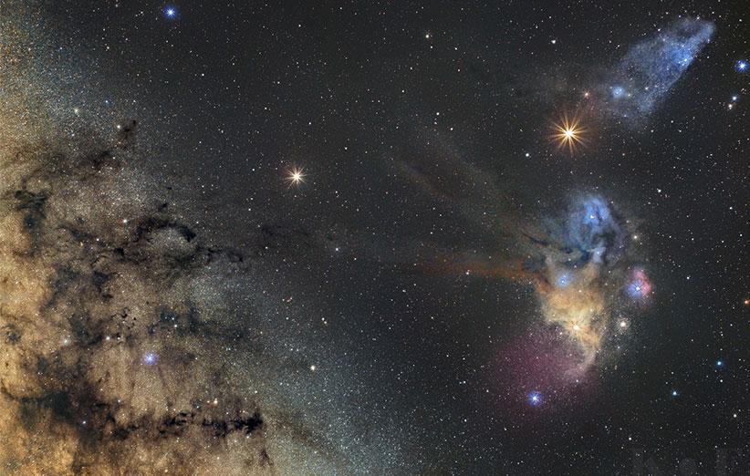 تصویر نجومی روز ناسا (۲۱ اردیبهشت ۹۵): ملاقات زحل و مریخ با سحابیهای راهشیری