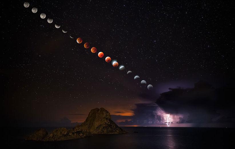 تصاویری زیبا از ابر ماه سرخگون را ببینید