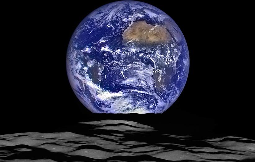 تصویر نجومی روز ناسا (۱۴ دی ۹۴): غروب زمین از روی ماه